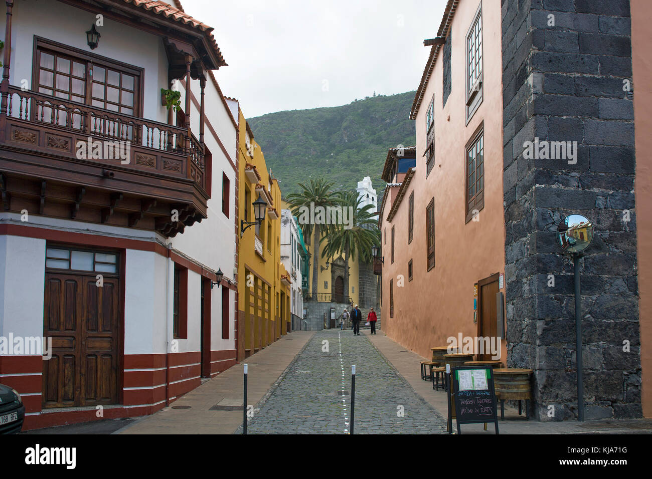 Typical canarian houses at the village Garachico,Tenerife island,   Canary islands, Spain - Stock Image