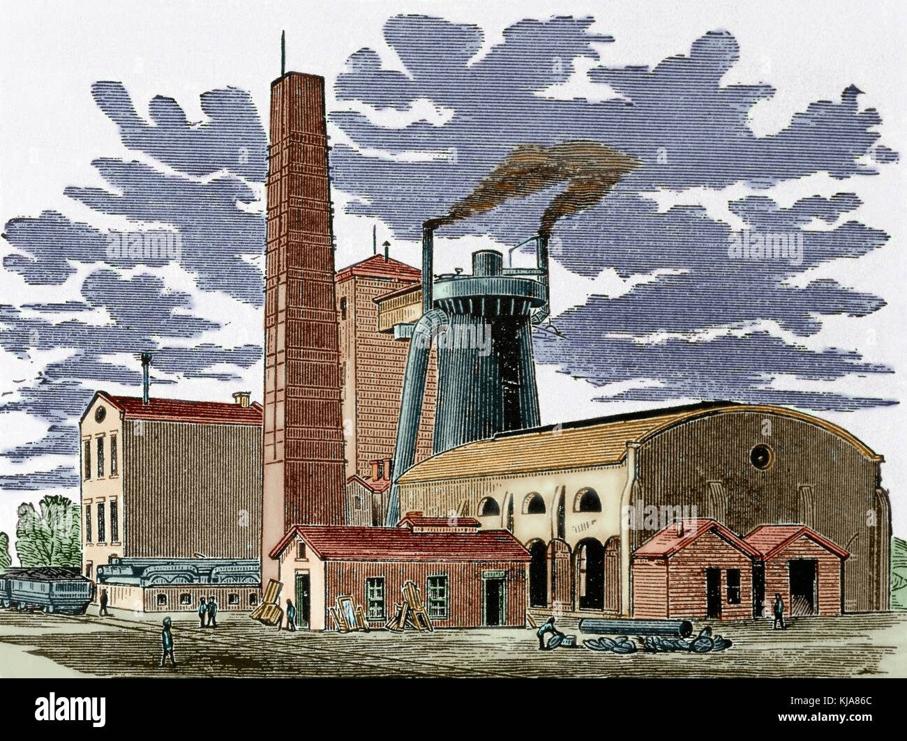 History of the United States. 19th century. Kentucky. The Ashland Furnace and Coal Works, 1876. Engraving. Colored. - Stock Image