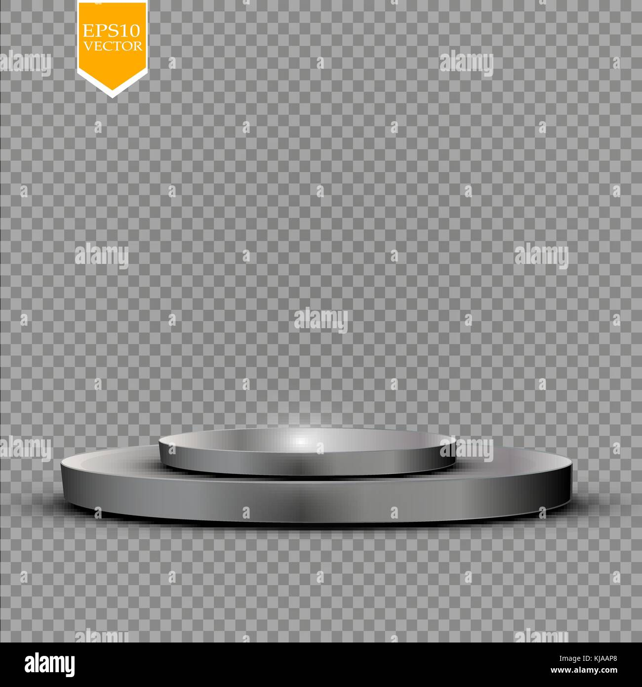 Realistic round white display podium isolated on transparent background. Perspective circle plinth, pillar, pedestal. Stock Vector