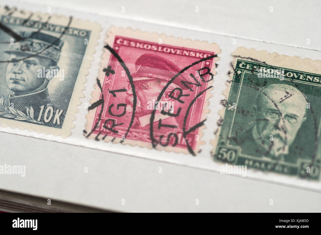 old postage stamps, Czechoslovakia - Stock Image
