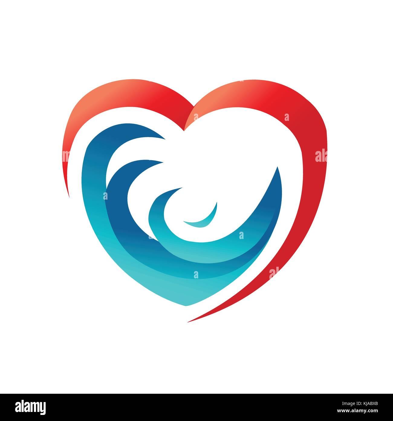 waves in heart symbol, ocean in harts, love sea symbol, loving sea symbol, water in heart, symbol design, isolated - Stock Vector