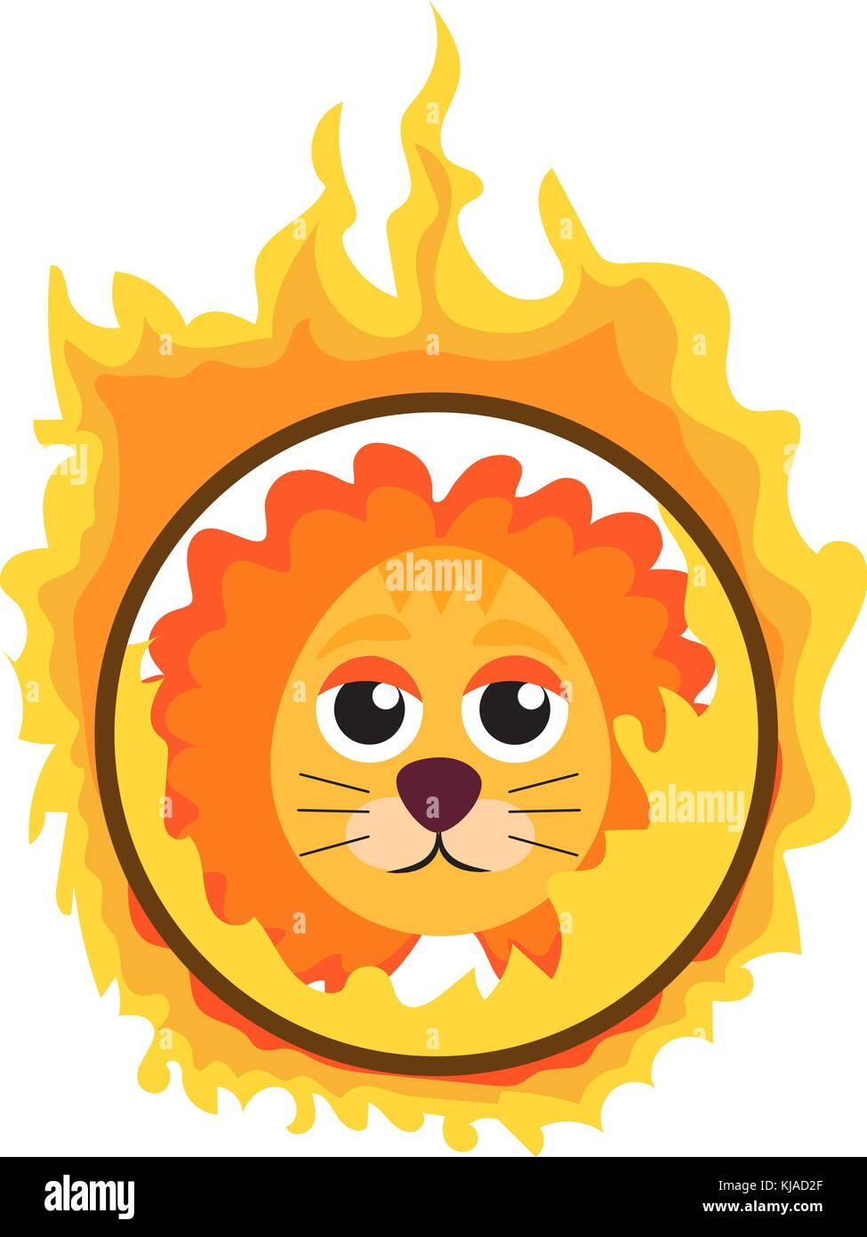 Lion jumping through a ring of fire in the circus icon flat style , isolated on white background. Vector illustration. - Stock Image