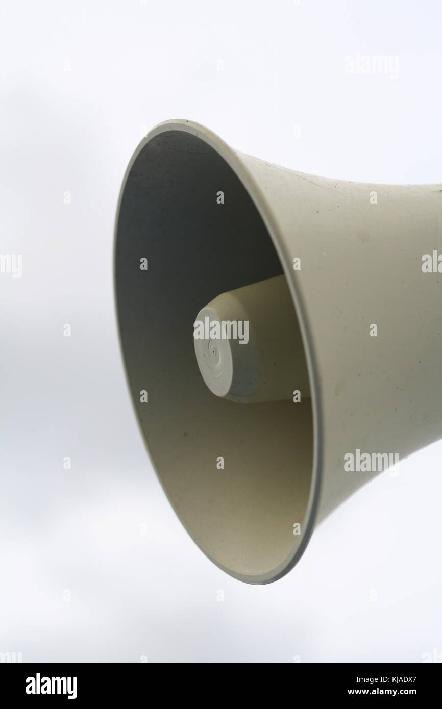 Big classic loudspeakers to announce news and important announcement messages, and for people to listen to. - Stock Image