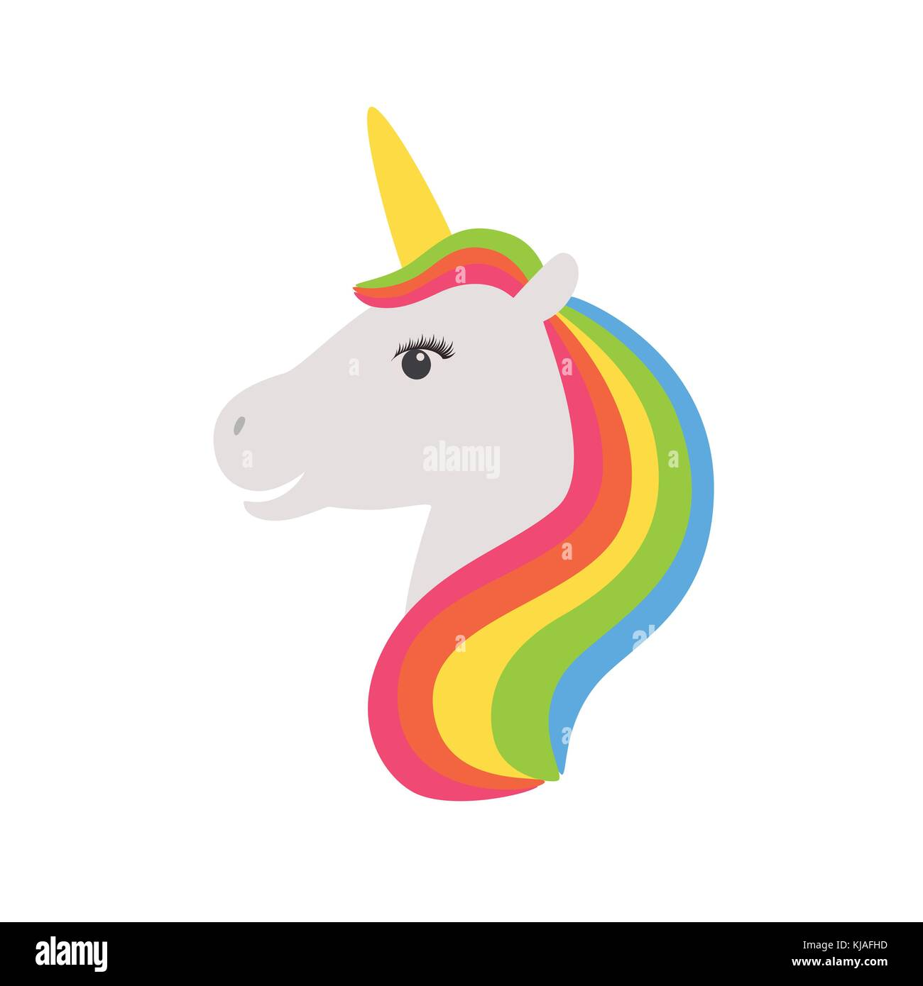 Unicorn Vector Icon Isolated On White Head Portrait Horse Sticker