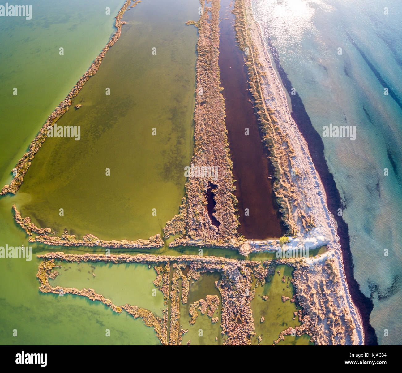 Amazing aerial drone image.Abstract nature in the water at the salt marshes of Lefkimmi.Corfu Greece Stock Photo