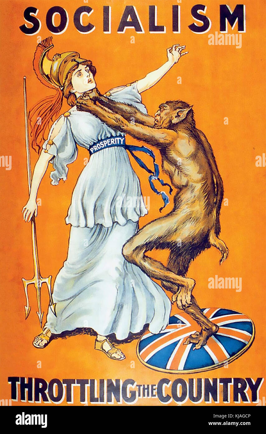 SOCIALISM THROTTLING THE COUNTRY Conservative Party 1909 poster - Stock Image
