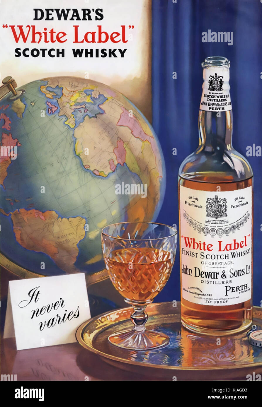 DEWARS WHITE LABEL WHISKY advert about 1950 - Stock Image