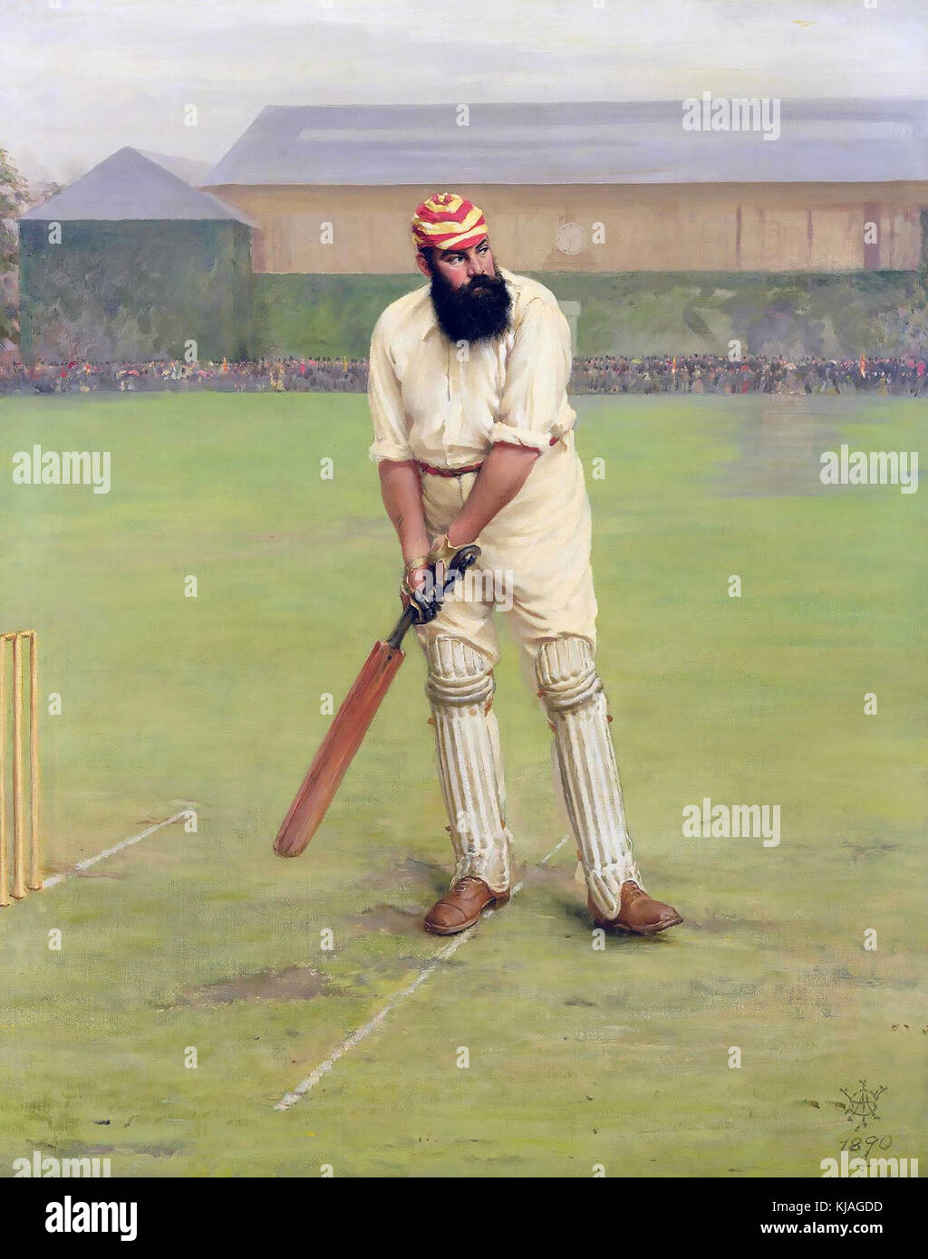 W.G.GRACE (1848-1915) English cricketer in 1890 in the cap colours of the Marylebone Cricket Club - Stock Image