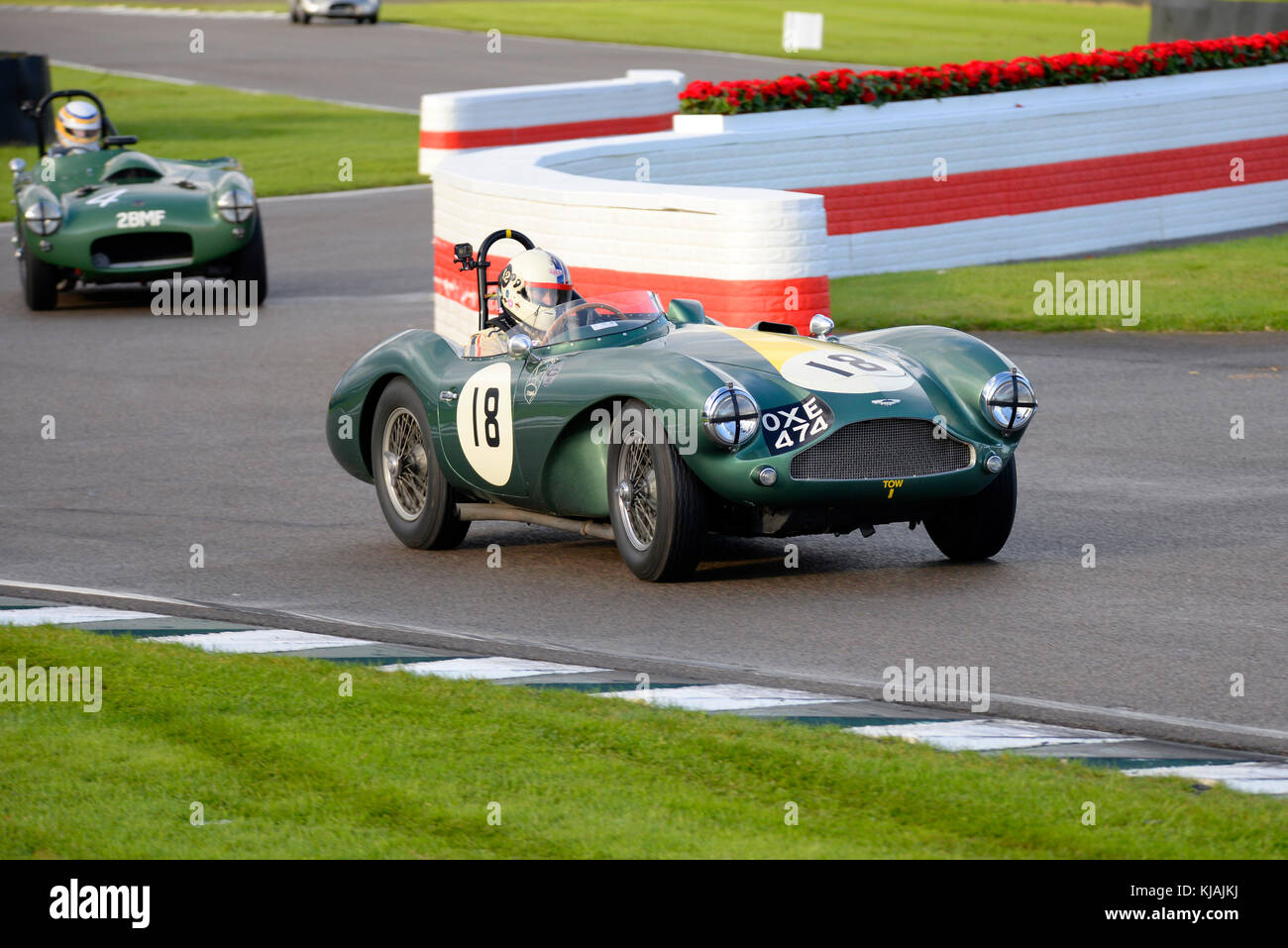 1955 Aston Martin DB3S owned and driven by Steve Boultbee Brooks racing in the Freddie March Memorial Trophy at the Goodwood Revival 2017 Stock Photo