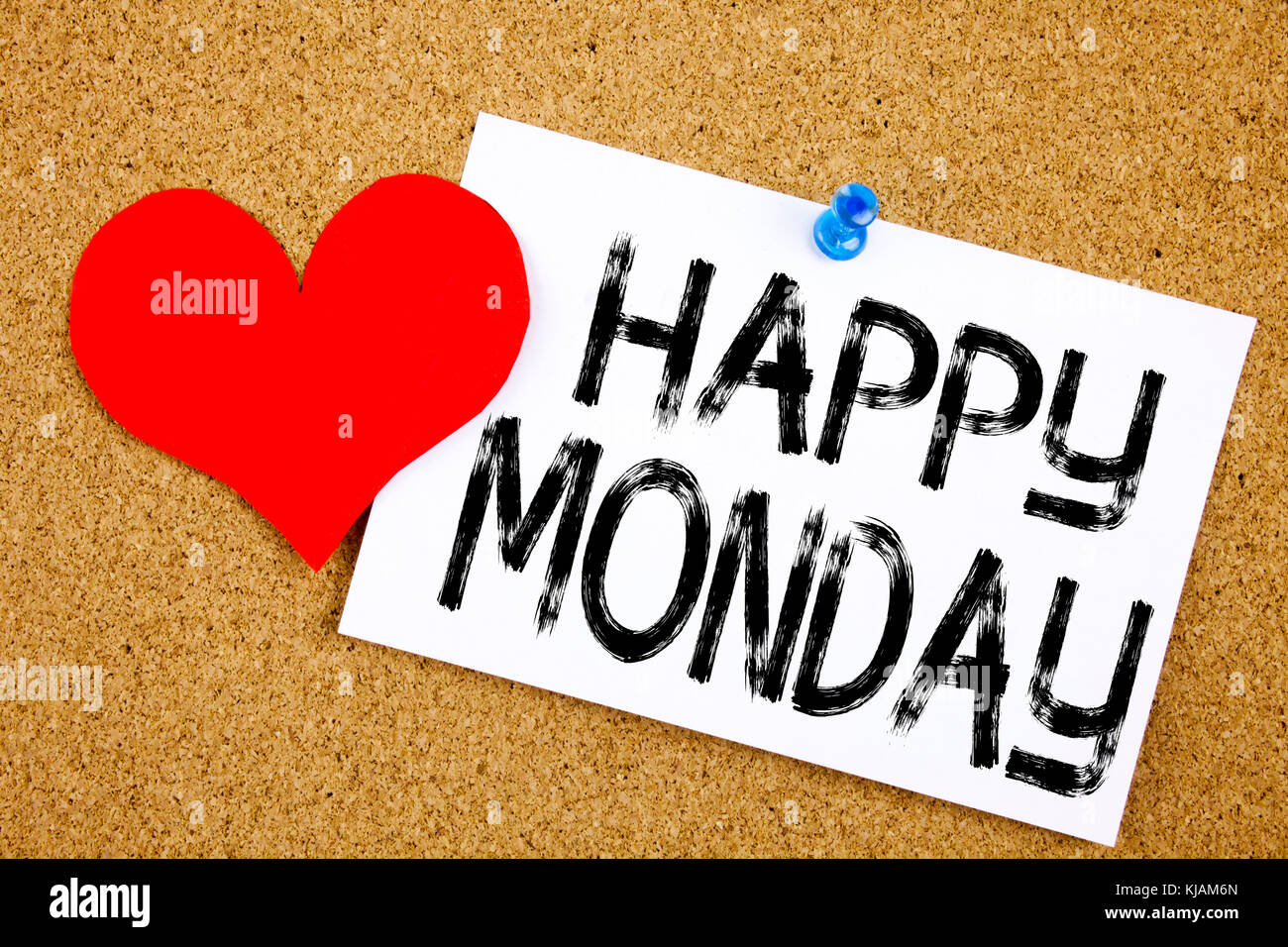 Conceptual hand writing text caption inspiration showing Happy Monday concept for Greeting Announcement and Love - Stock Image
