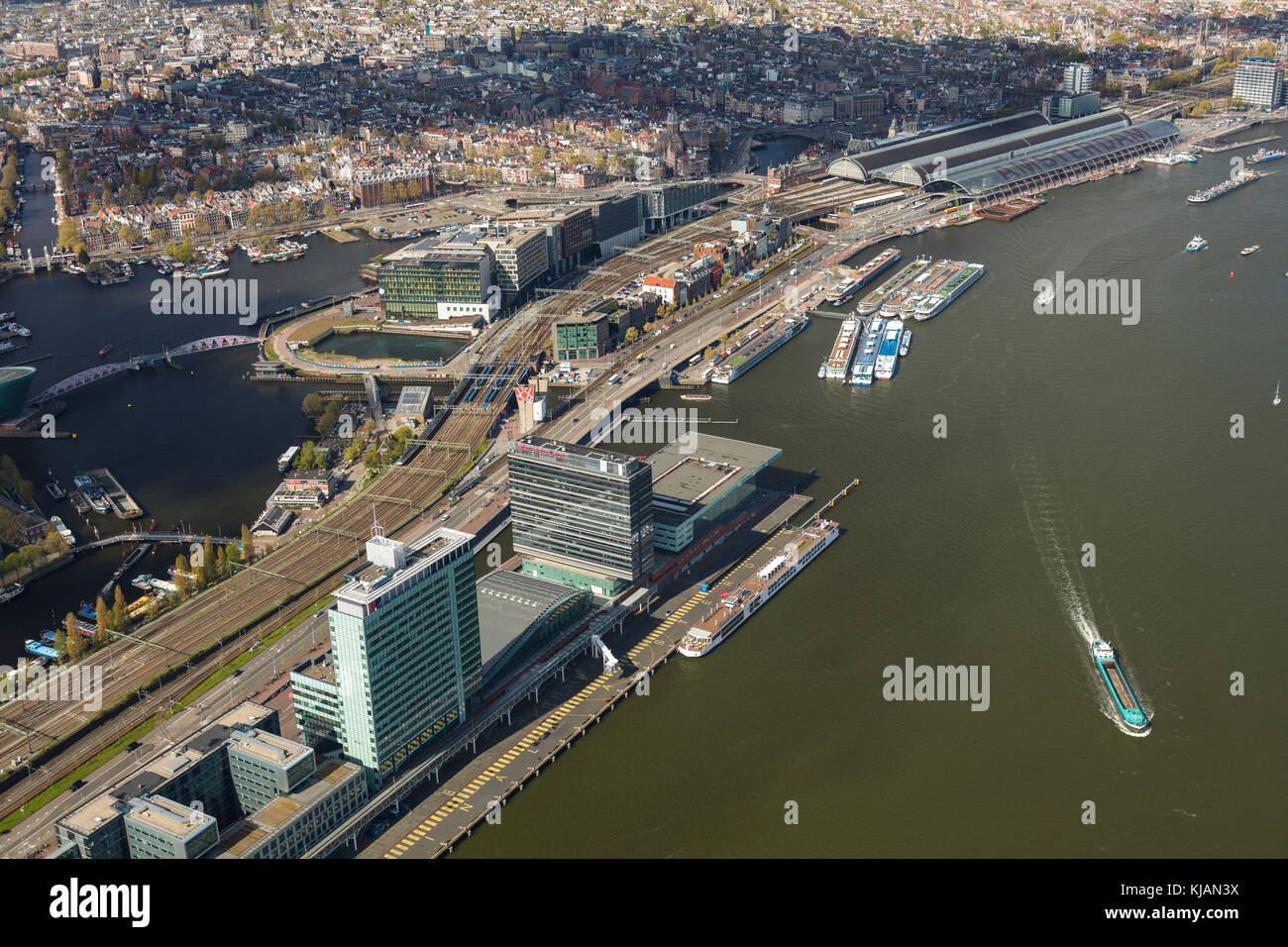 Aerial view of Amsterdam and Central Railway Station, The Netherlands - Stock Image