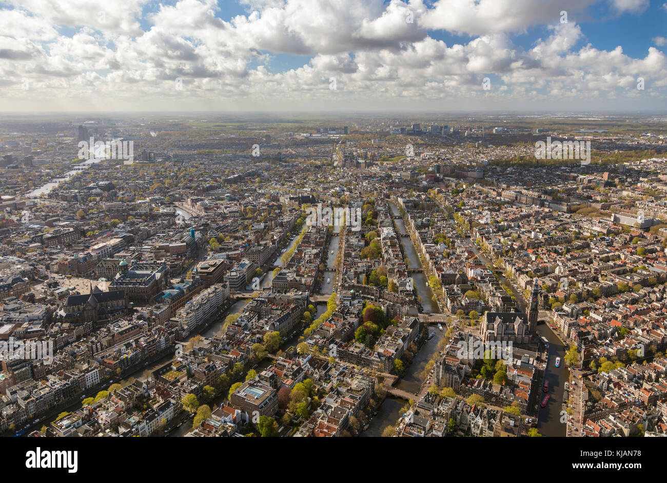 Aerial view of the Old City Centre Amsterdam, Netherlands - Stock Image
