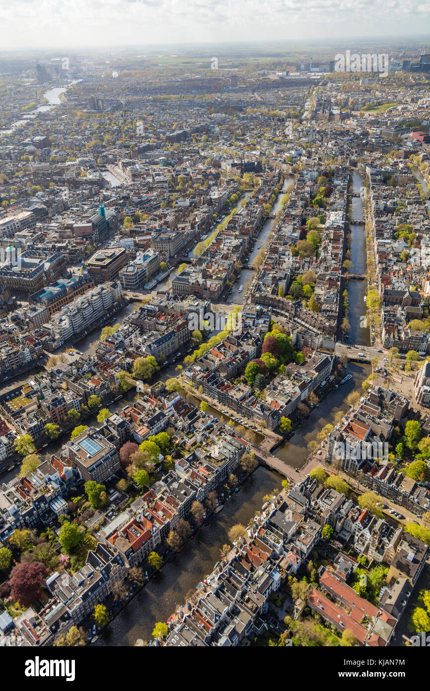 Aerial view of the Old City Centre Amsterdam, Netherlands Stock Photo