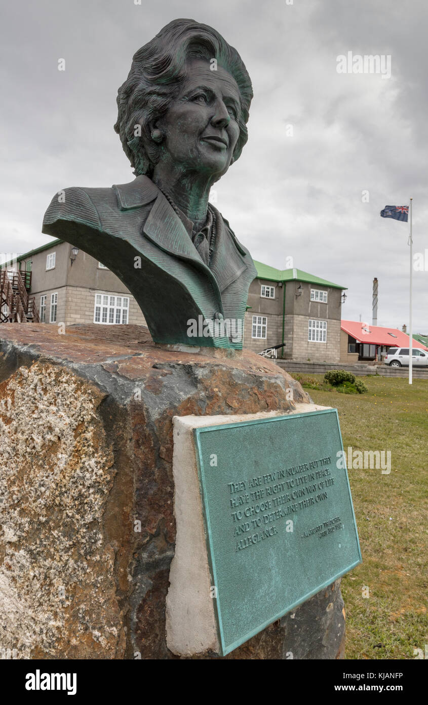 Bust of Prime Minister Margaret Thatcher at Government House, Stanley, Falkland Islands - Stock Image