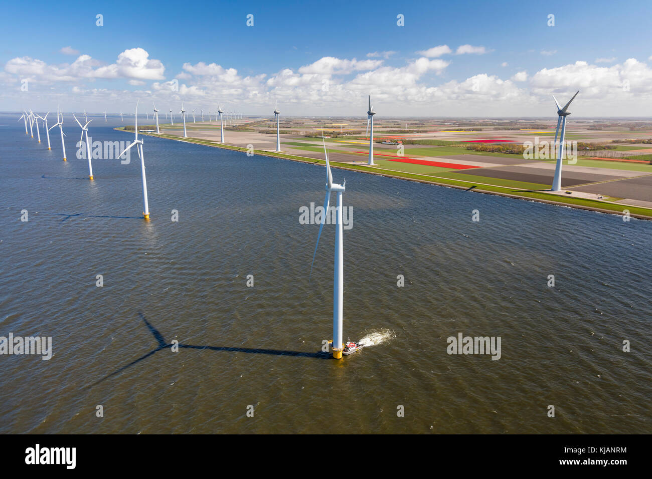 Aerial view of wind turbines, North Holland, Netherlands - Stock Image