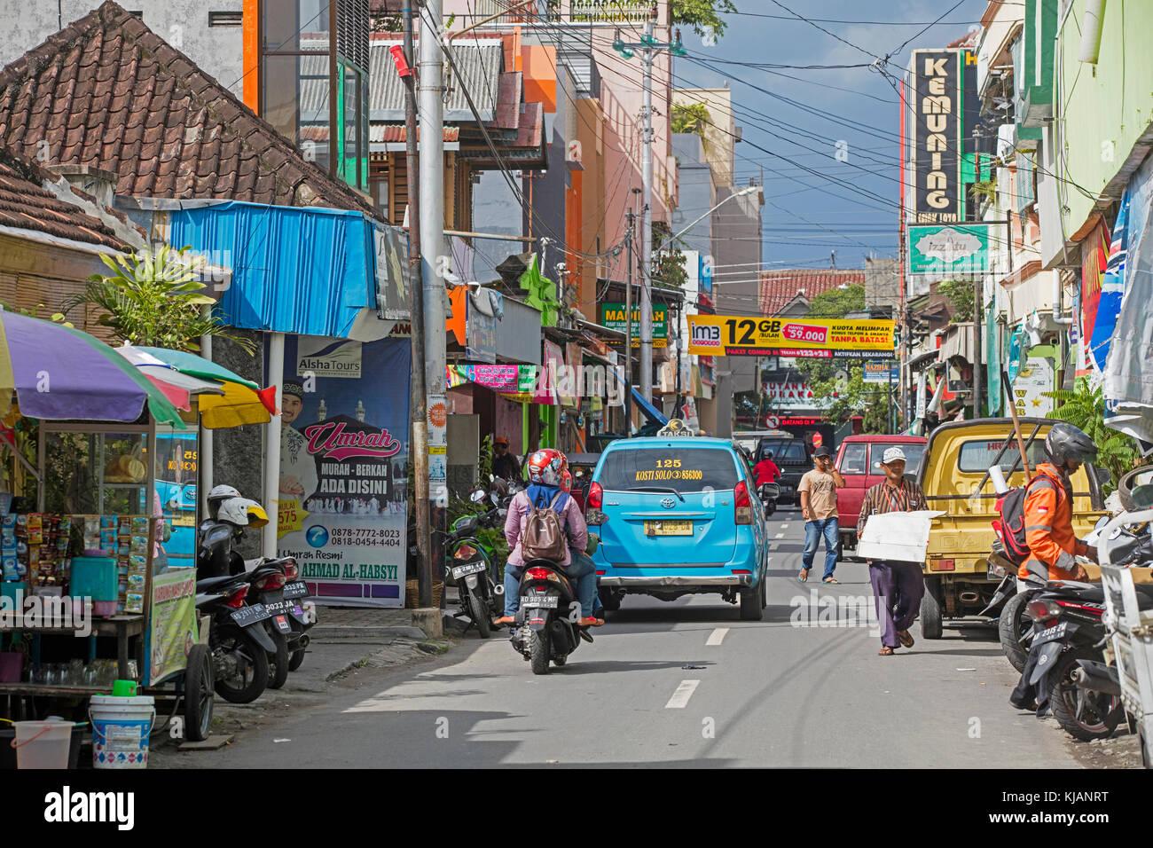 Street scene in the city Surakarta / Solo, Central Java, Indonesia - Stock Image