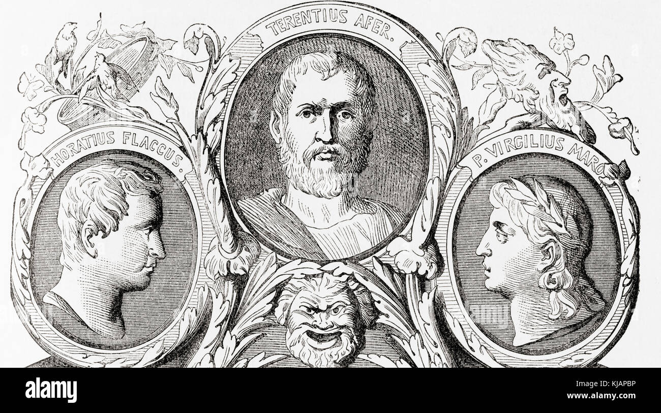 Roman authors.  From left to right, Horace, Terence and Virgil.  Quintus Horatius Flaccus, 65 - 8 BC, aka Horace. - Stock Image
