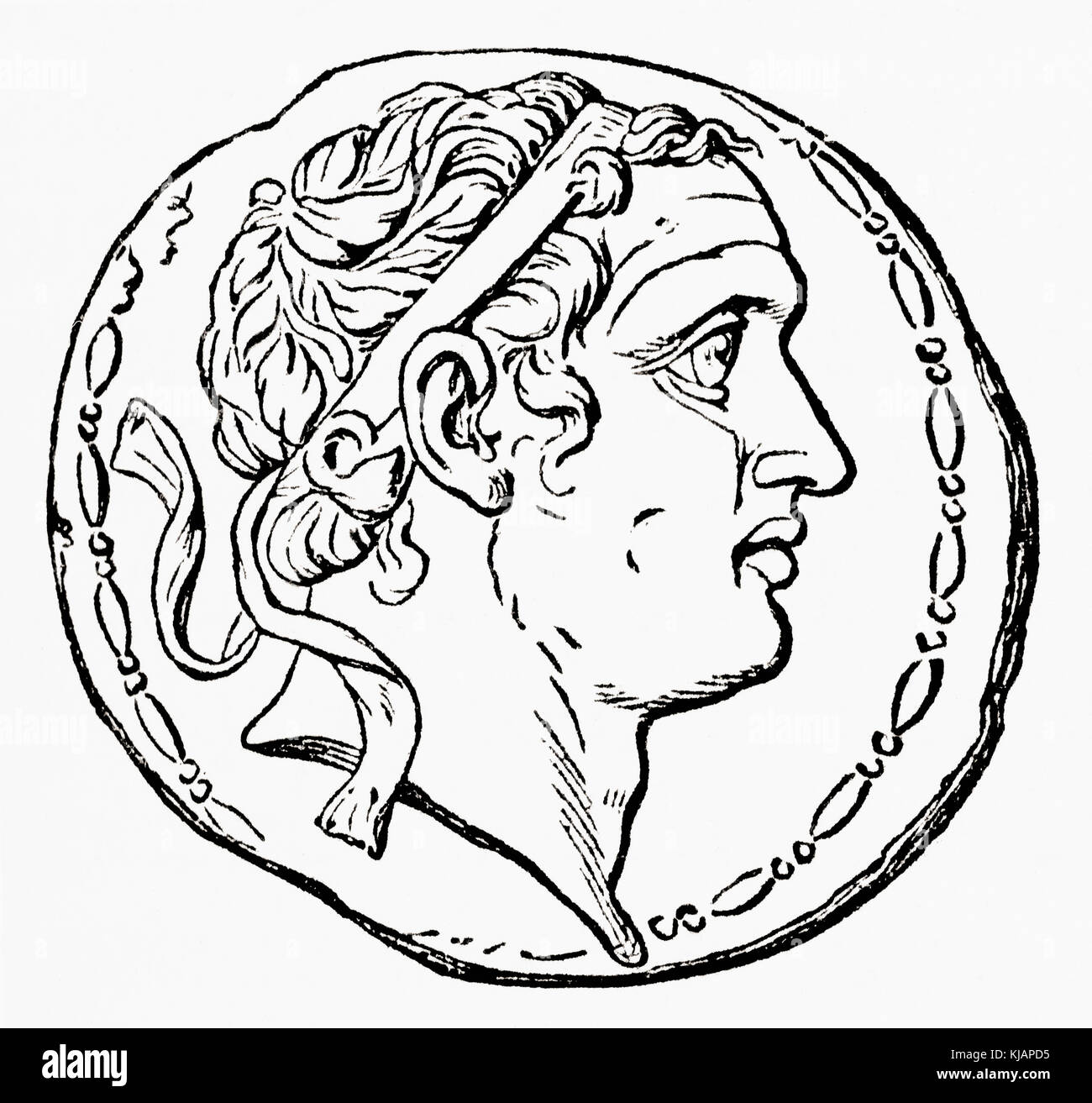 Coin depicting Seleucus IV Philopator, c. 218 – 175 BC.  Ruler of the Hellenistic Seleucid Empire.  From Ward and - Stock Image