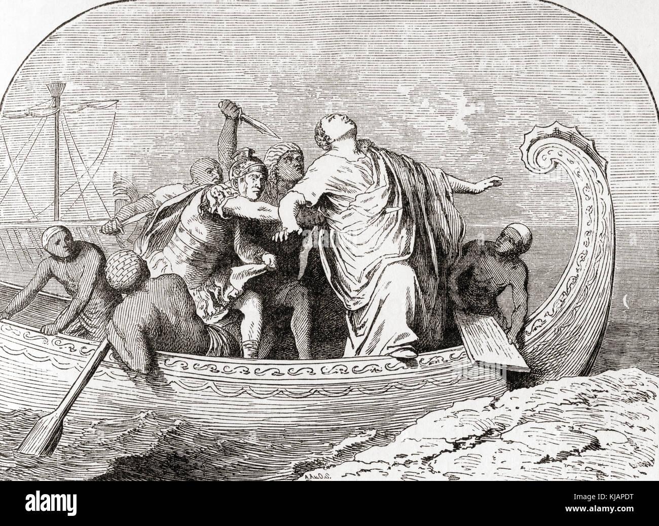 The murder of Pompey by Lucius Septimius, 48 BC.  Gnaeus Pompeius Magnus,  106 - 48 BC, aka Pompey or Pompey the - Stock Image