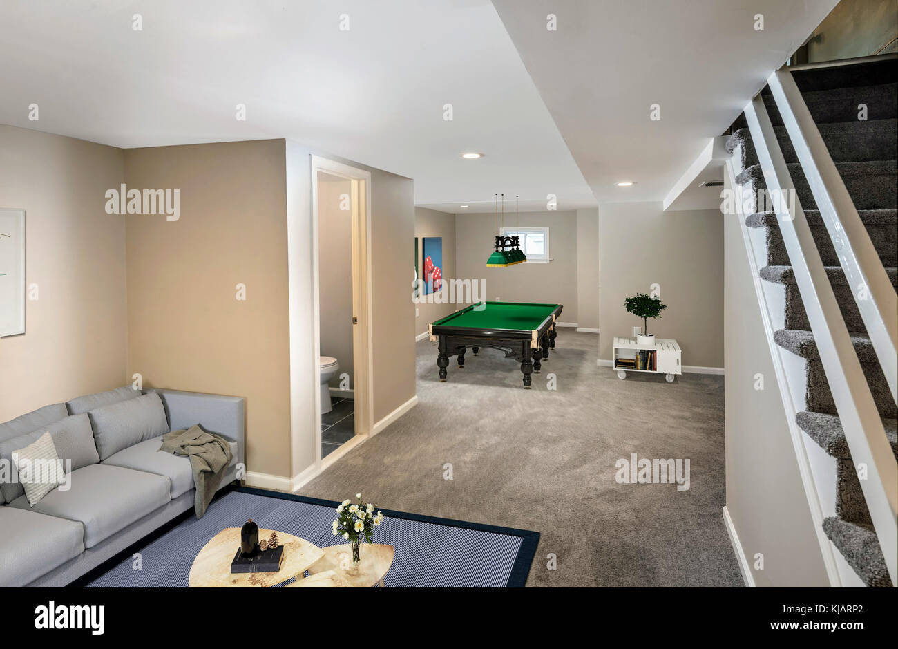 Finished Basement In Small Townhome, USA - Stock Image