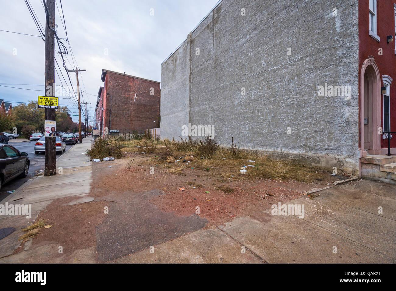 Vacant Lot, Philadelphia, PA USA - Stock Image