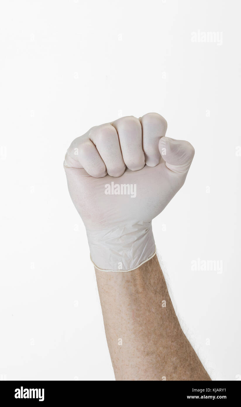 Gloved Glove Hand Making Clenched Fist - Stock Image