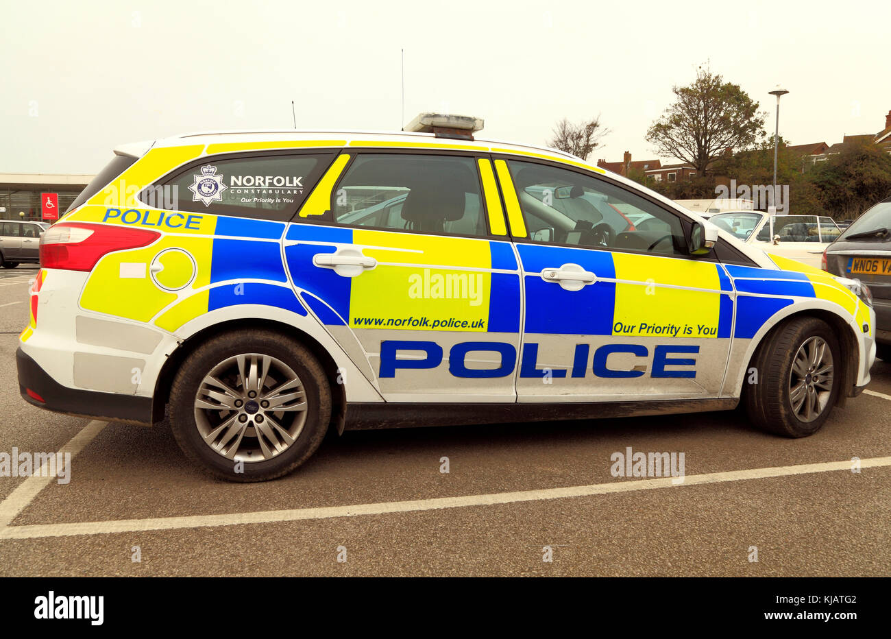 Norfolk Police, car, vehicle, constabulary, police force, forces, vehicles, cars, logo - Stock Image