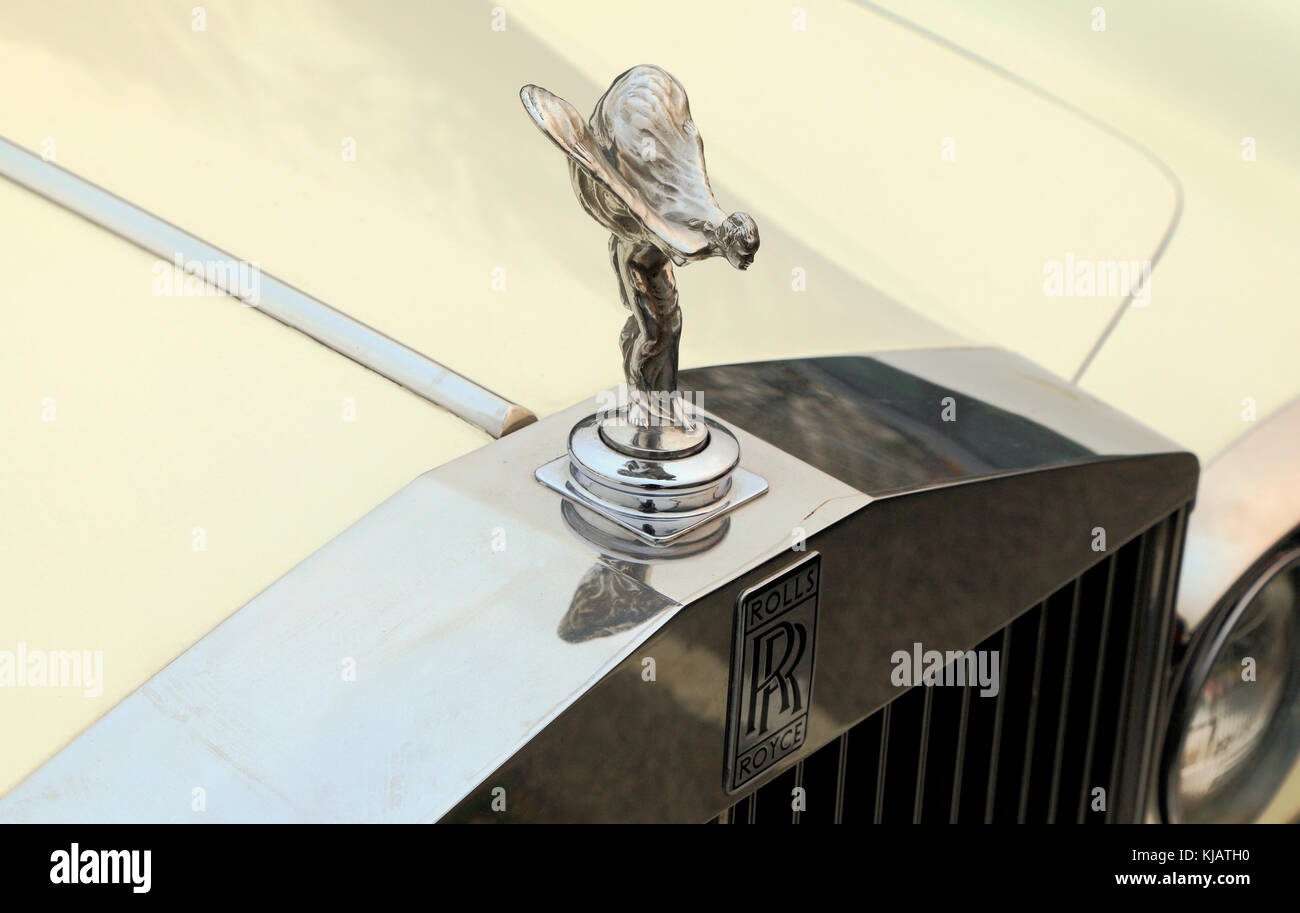 Rolls Royce, winged, flying, lady icon, filler cap, motif - Stock Image