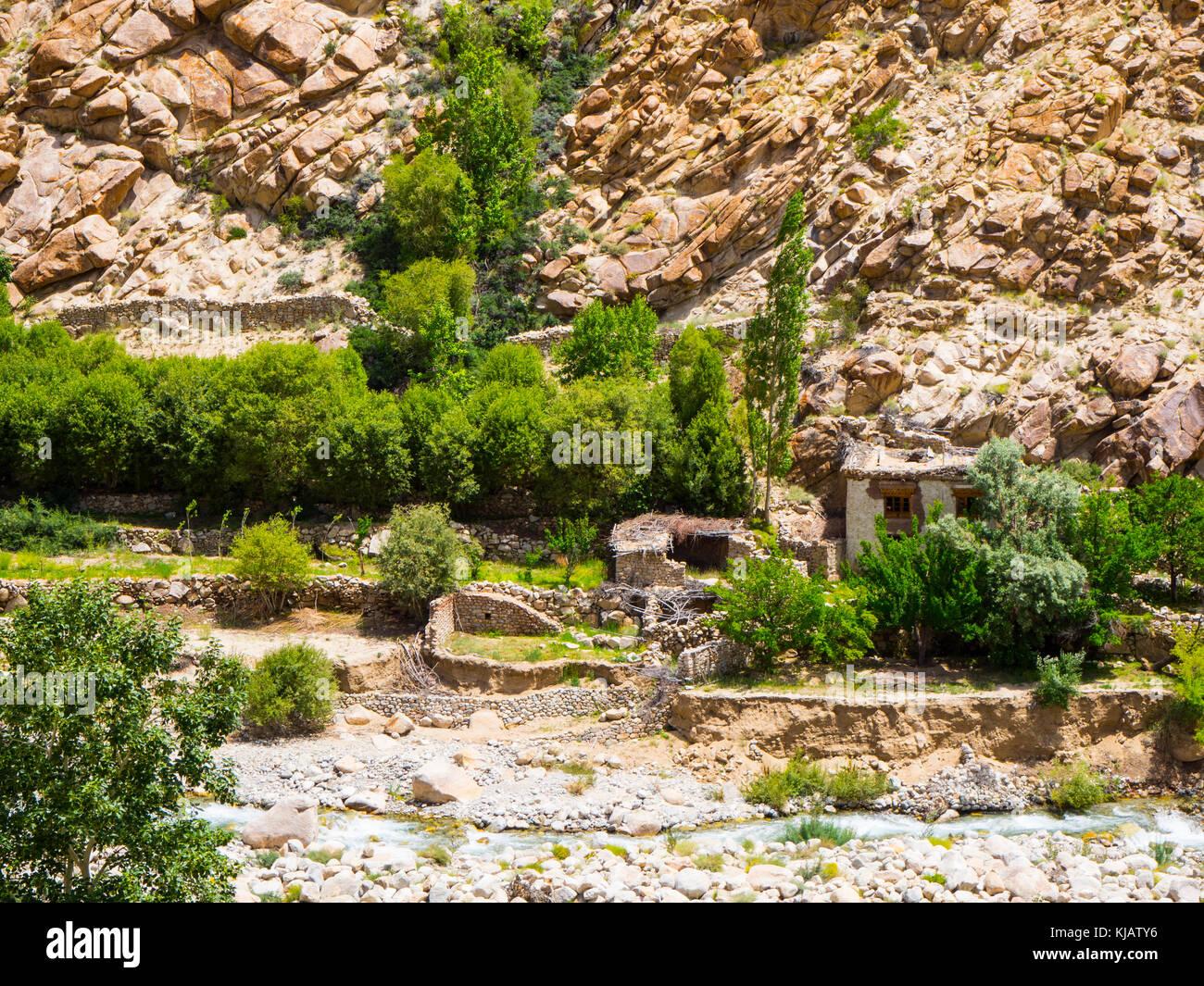 traditional house - landscape - Ladakh India - Stock Image