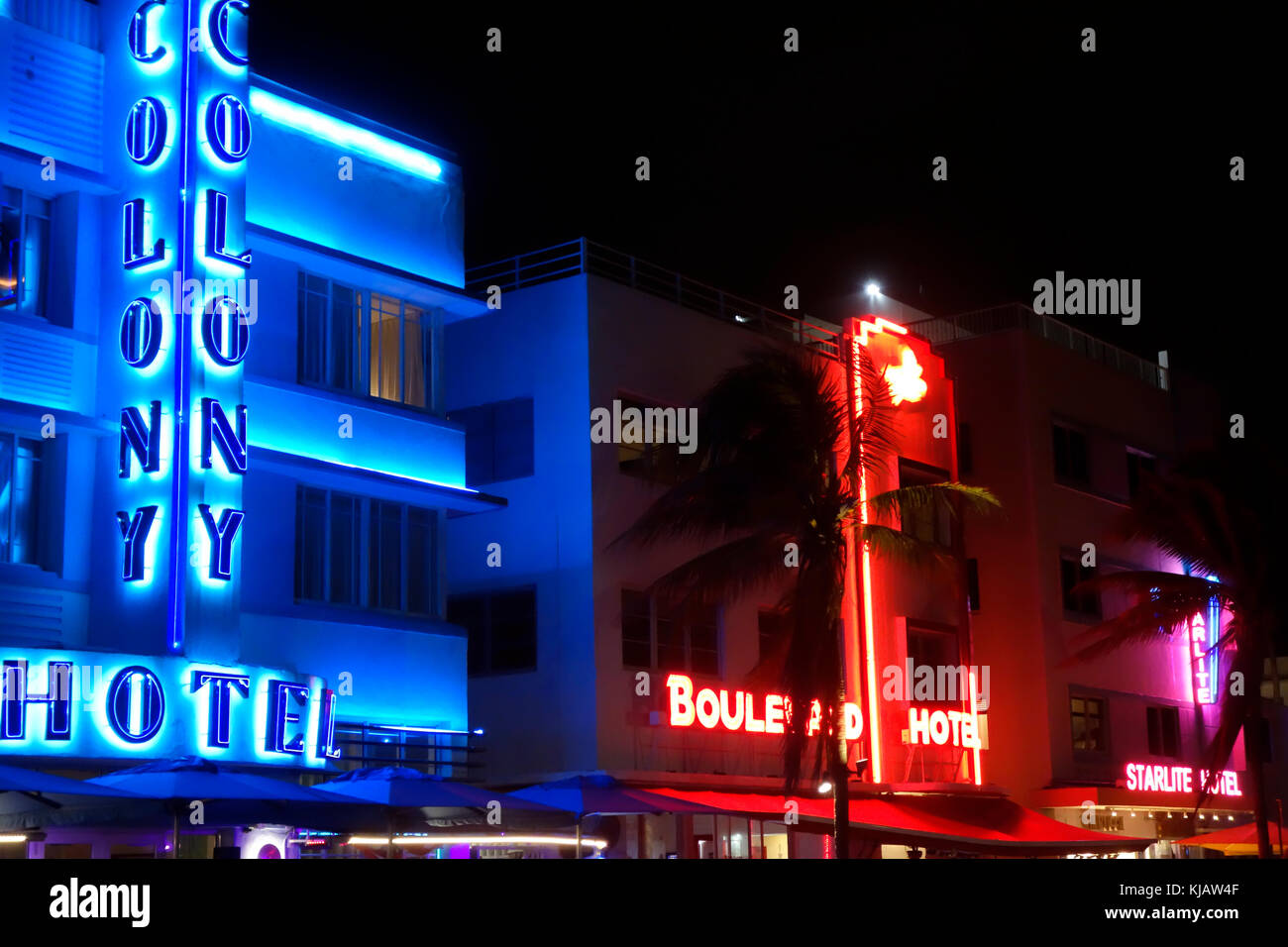 The Colony Hotel, South Beach, Ocean Drive, Miami, Florida, United States of America, USA - Stock Image