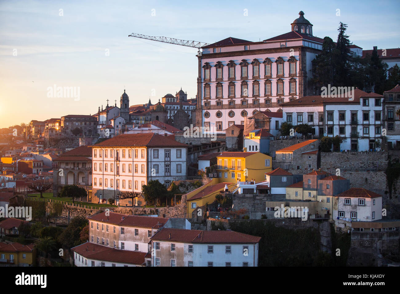 Facades of buildings in central part of the old Porto, Portugal. - Stock Image