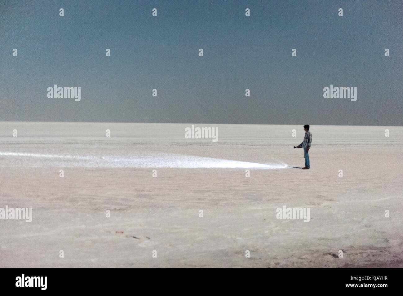 Rare images clicked in moonlight at full moon night in white desert - white rann  at Kutch, Gujarat, India with - Stock Image