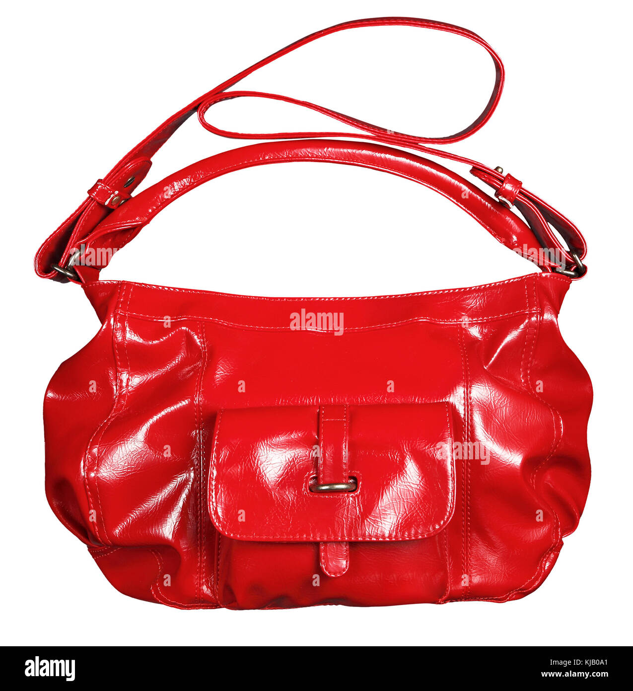 Bright red shiny patent leather handbag with dual carry and shoulder straps for an elegant female fashion accessory - Stock Image
