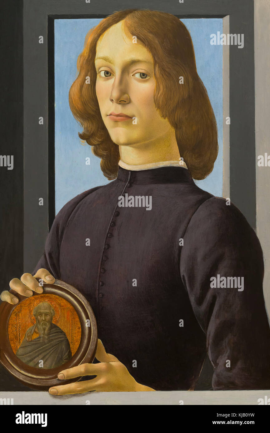 Portrait of a Young Man Holding a Medallion, Botticelli, circa 1480-1484, Metropolitan Museum of Art, Manhattan, - Stock Image