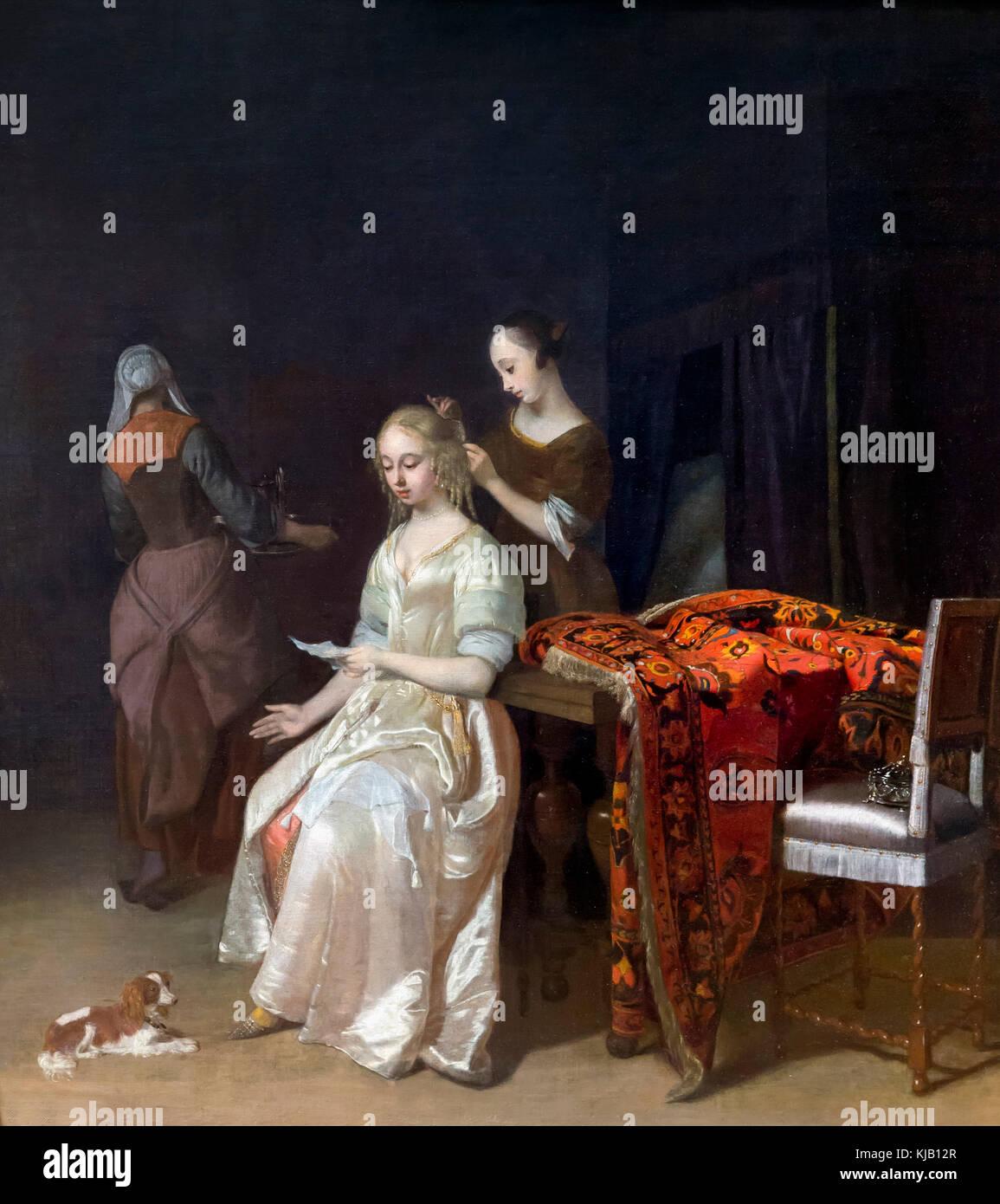 The Love Letter, Jacob Ochtervelt, 1670's, Metropolitan Museum of Art, Manhattan, New York City, USA, North - Stock Image
