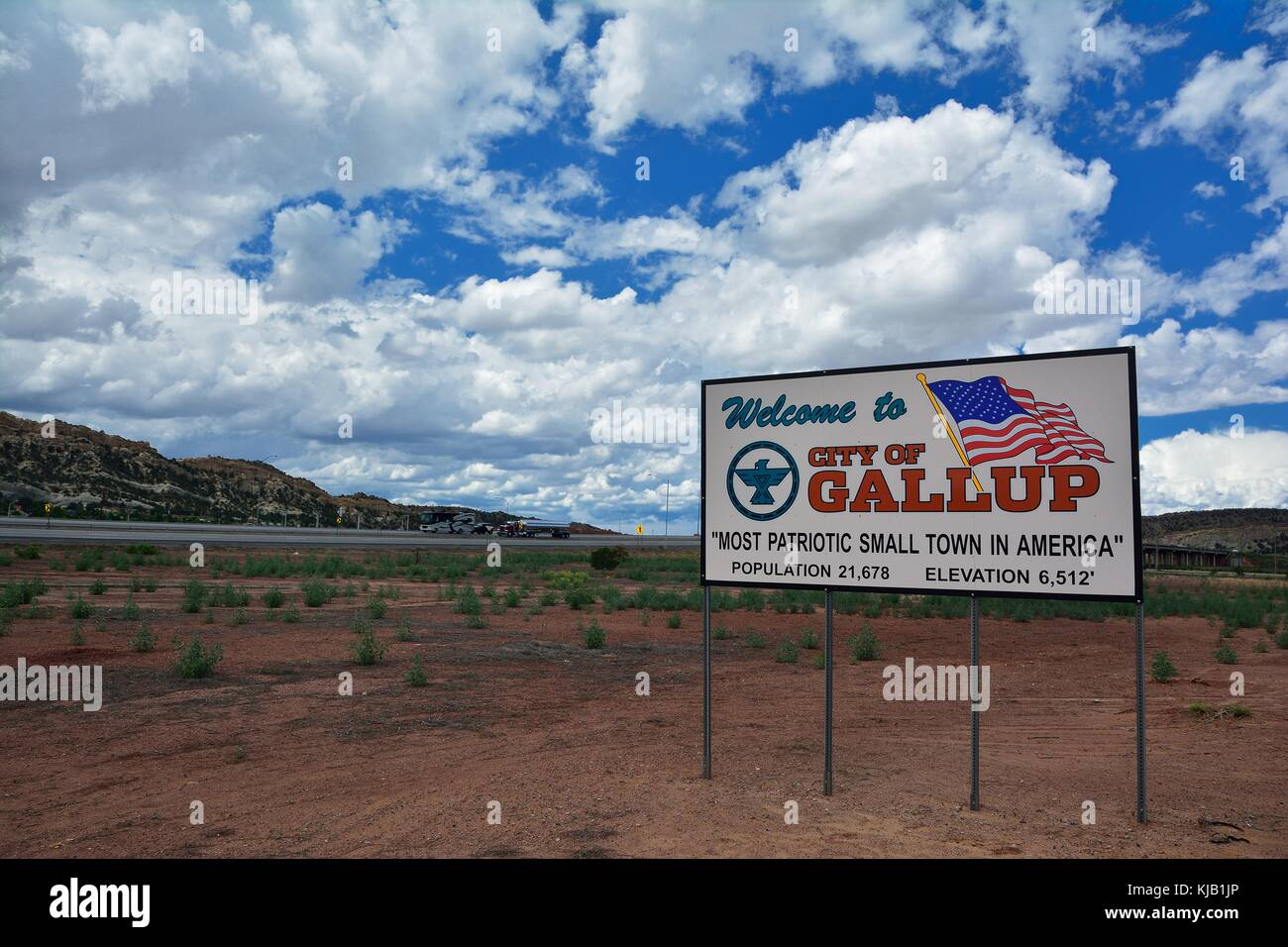 GALLUP, NEW MEXICO - JULY 22: Welcome sign to Gallup, most patriotic small town in America on July 22, 2017 in Gallup, Stock Photo
