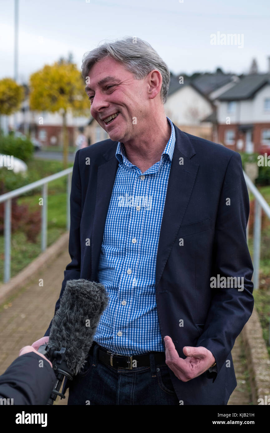 Richard Leonard being interviewed for TV  after winning Labour Party Leadership contest, - Stock Image