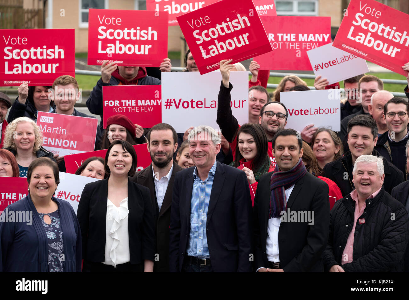 Richard Leonard celebrated with party activists and MSPs after winning Scottish Labour Party Leadership contest, - Stock Image