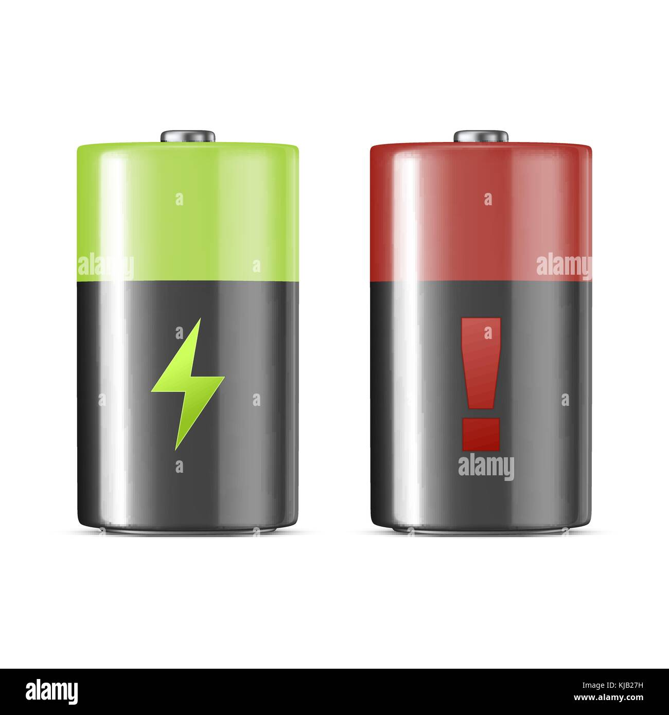 Vector realistic alkaline charging batteries icon set. Design template. Closeup isolated on white background. - Stock Vector