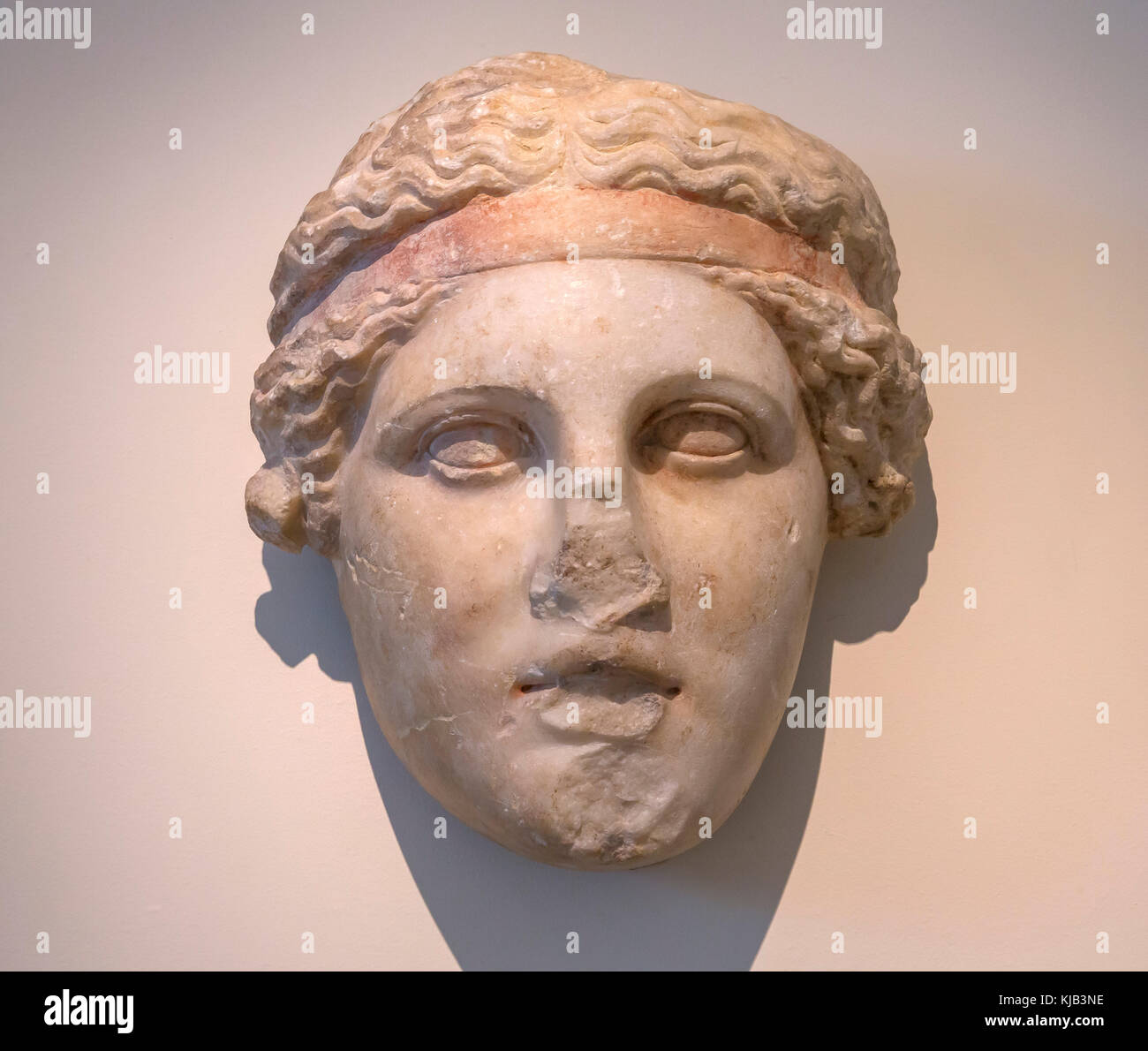 Marble Head of a Deity wearing a Dioysiac Fillet, Roman copy, Greek Original, Metropolitan Museum of Art, Manhattan, Stock Photo