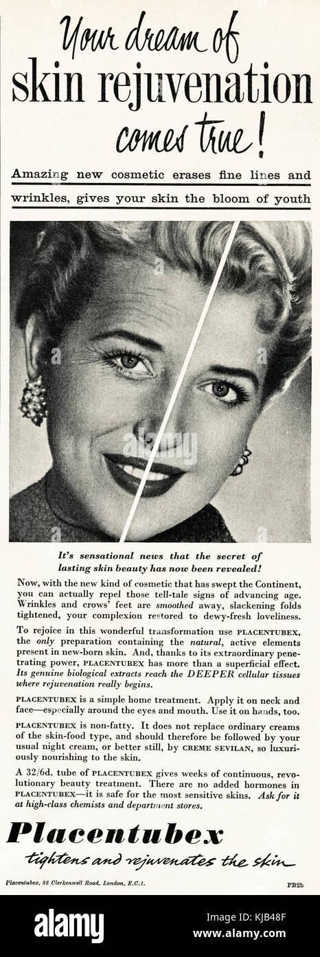 1950s old vintage original advert british magazine print advertisement advertising Placentubex skin cosmetic dated - Stock Image