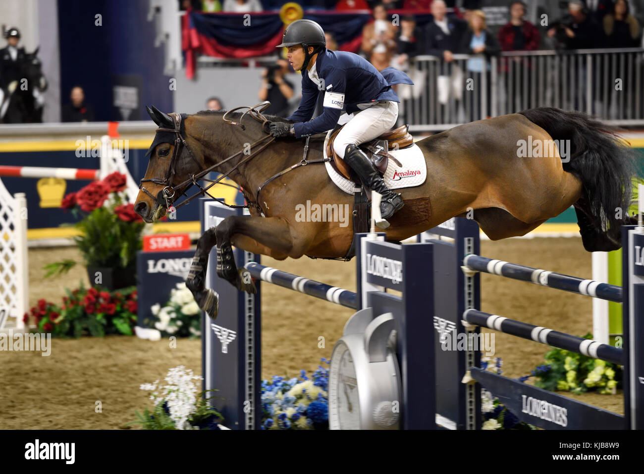 Kent Farrington USA riding Voyeur winner of the Longines FEI World Cup Show Jumping competition at the Royal Horse Stock Photo