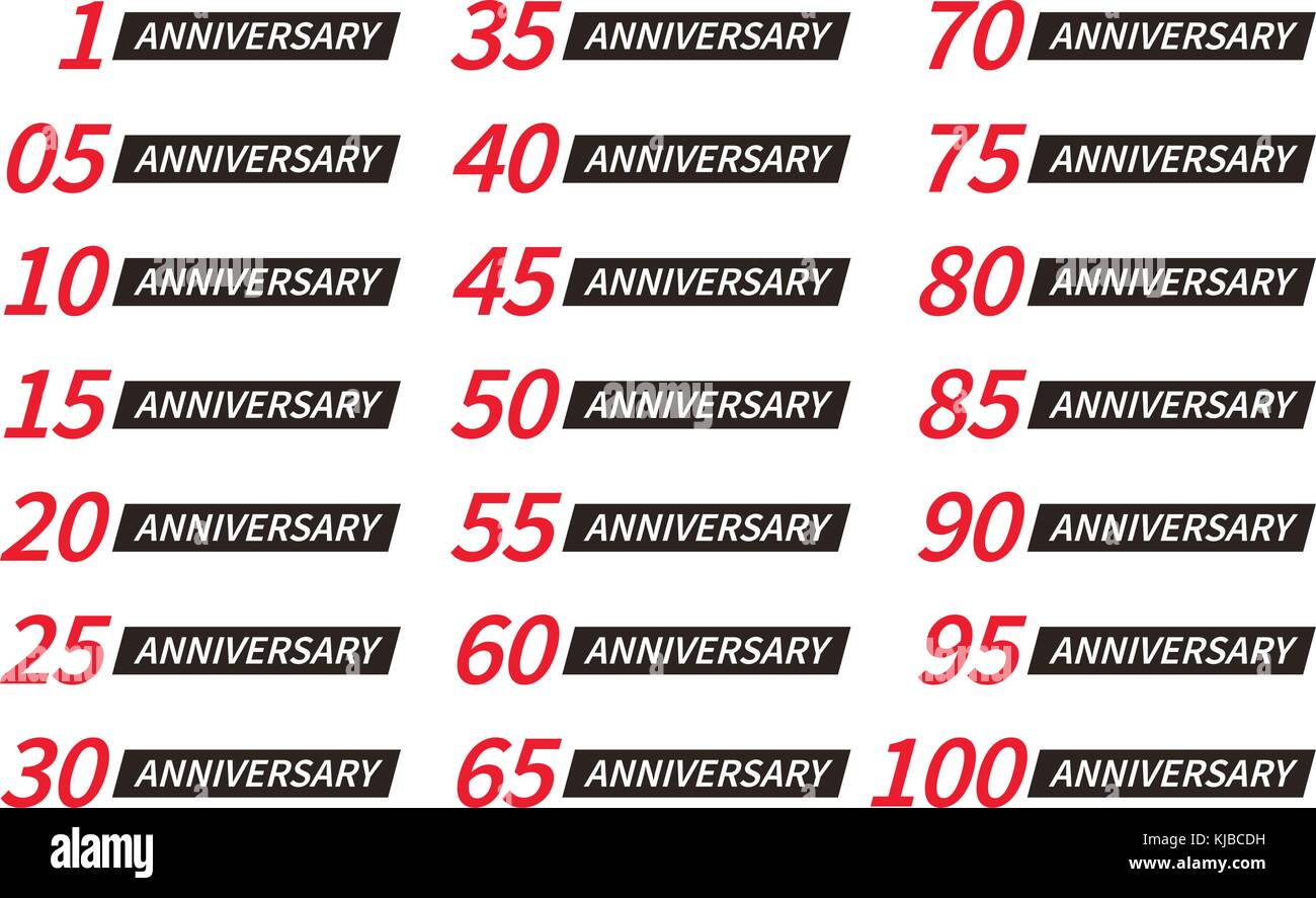 Isolated red and black color numbers with word years icons collection on white background, birthday anniversary - Stock Vector