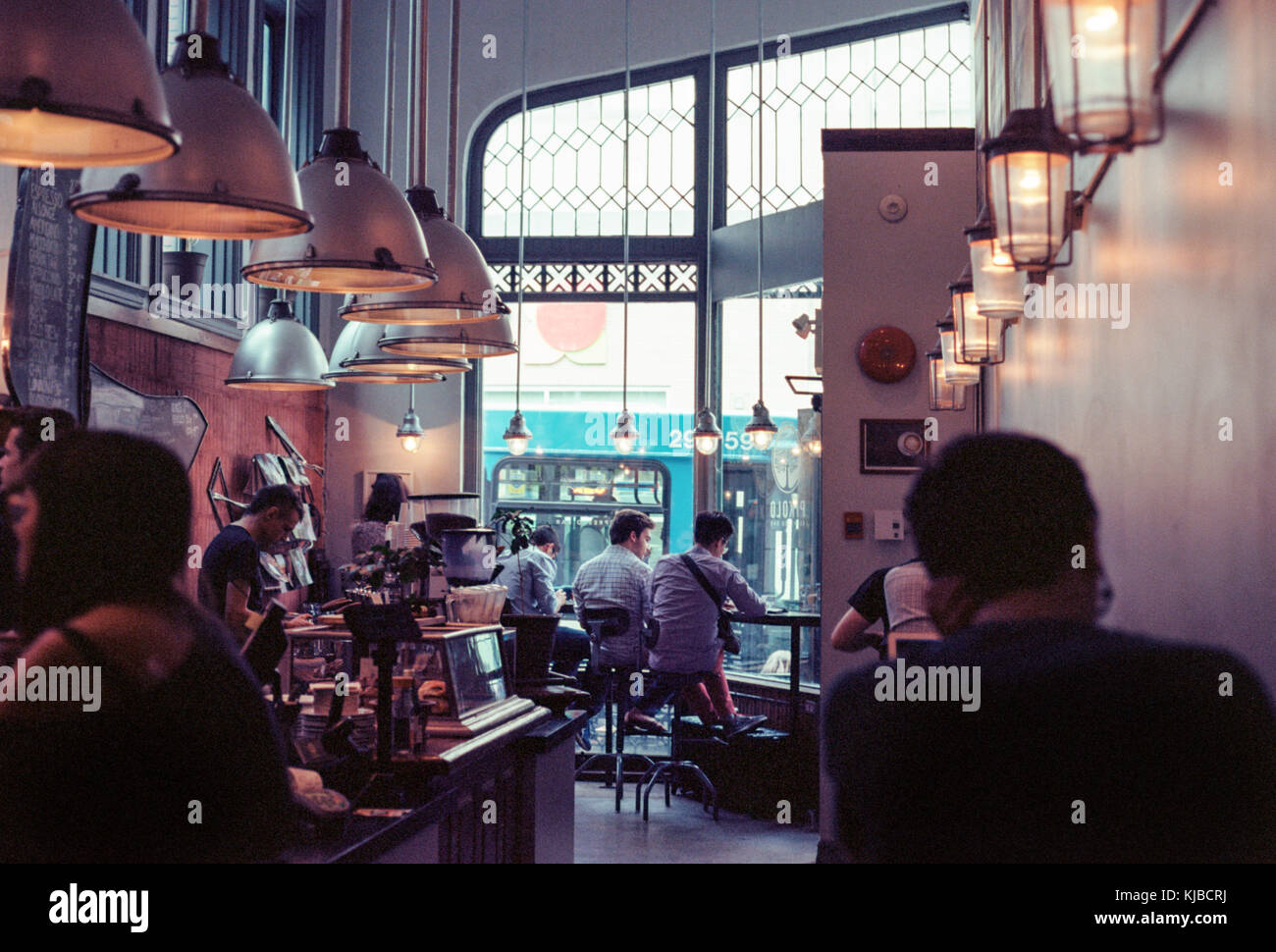 People Enjoying Coffee In A Busy Cafe In Montreal Canada Stock Photo Alamy