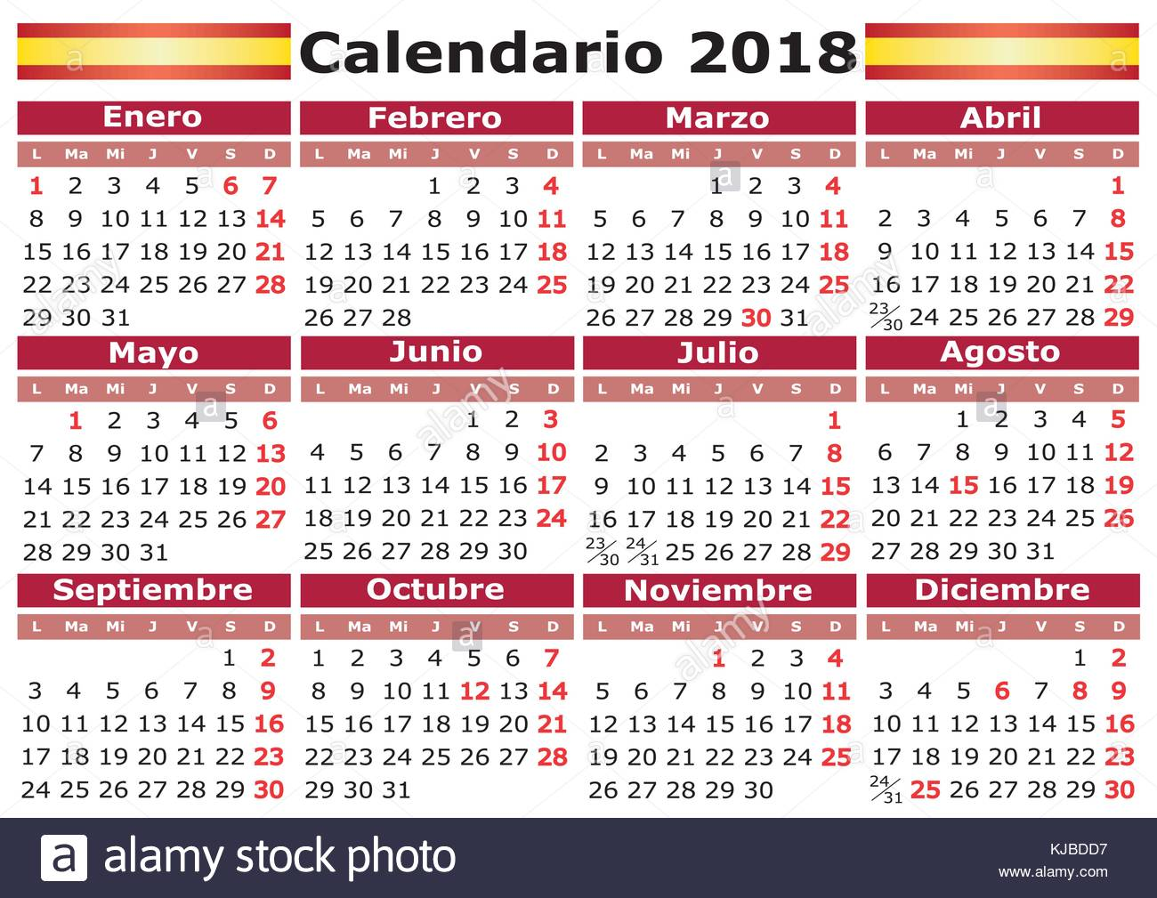 Calendario Con Week 2018.Calendario 2018 Spanish Calendar With Festive Days Pocket