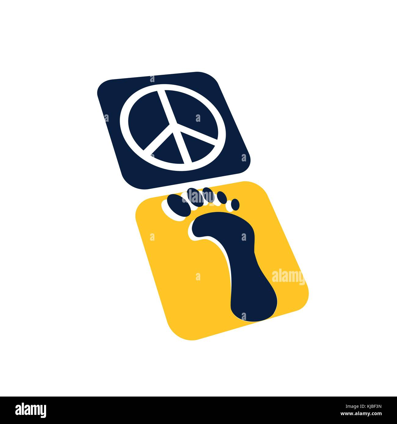 step to a peace symbol, footprint to peace symbol illustration, icon design, isolated on white background. - Stock Vector