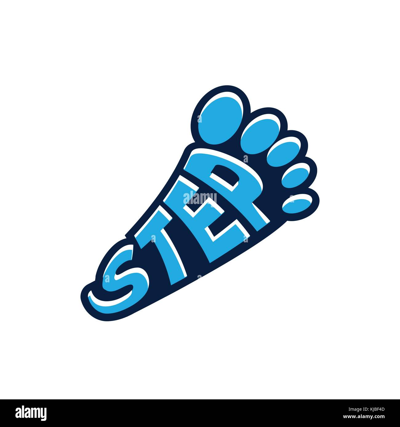 step word as footprint, step word forms footprint, footprint symbol, icon design, isolated on white background. - Stock Vector