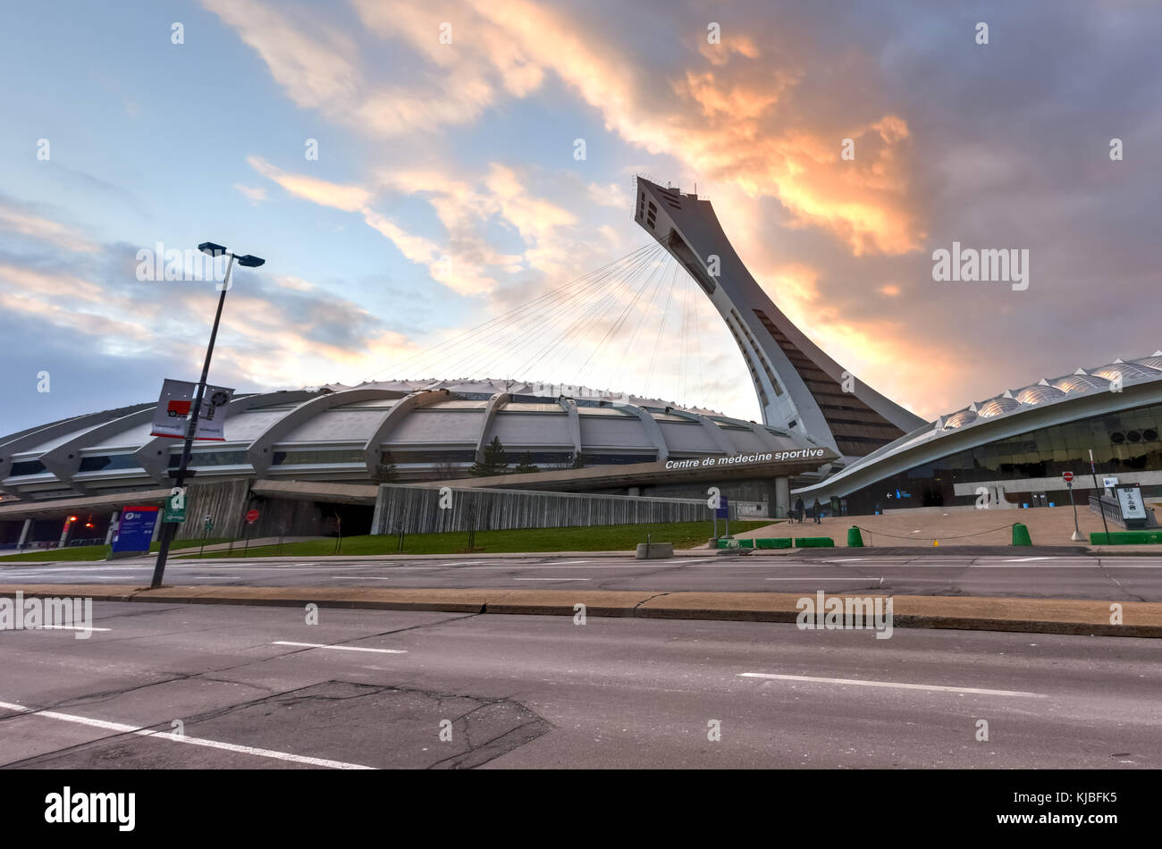 The Montreal Olympic Stadium and tower at sunset. It's the tallest inclined tower in the world.Tour Olympique - Stock Image