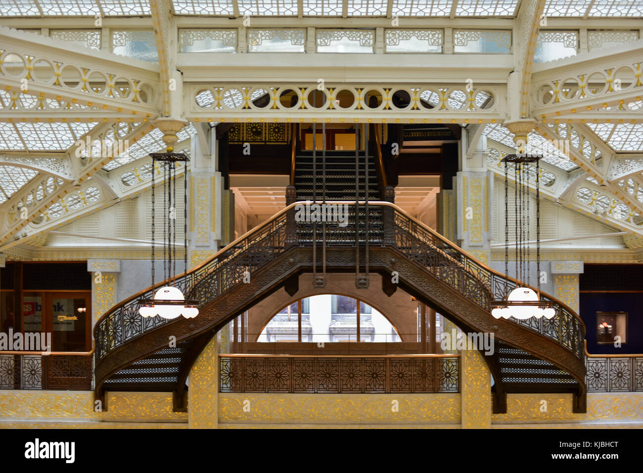 Chicago - September 8, 2015: Lobby in the Rookery Building, a historic landmark located at 209 South LaSalle Street Stock Photo