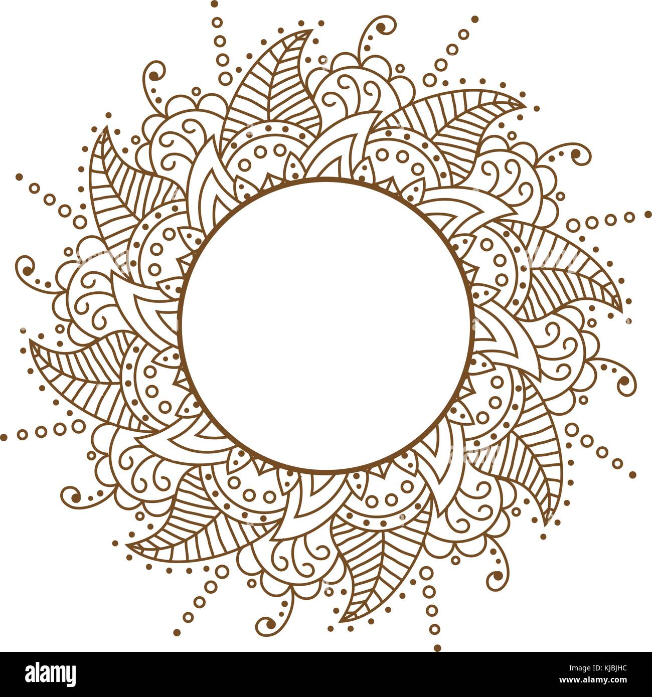 Vector openwork cloth brown. Round frame. Brown Pattern Vector f - Stock Image